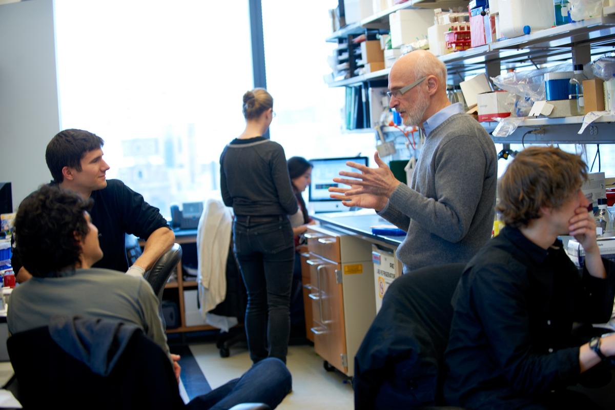 Alexander Rudensky talks to people in his lab