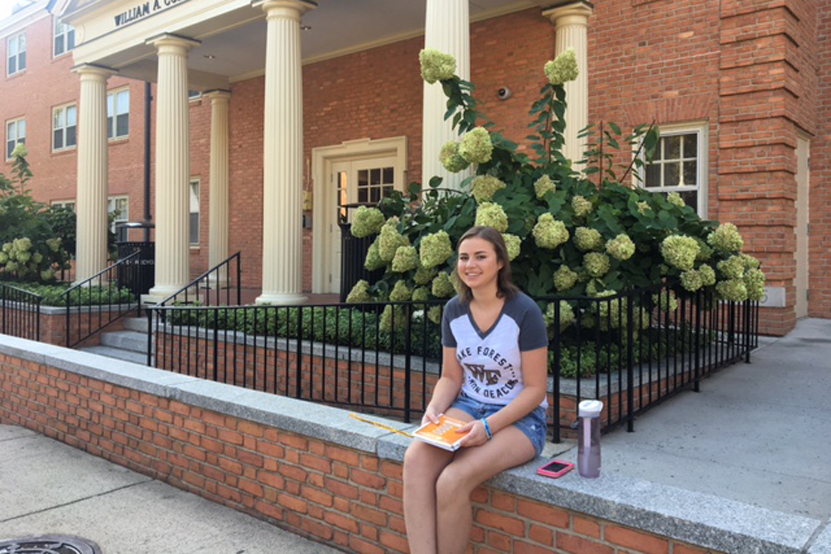Memorial Sloan Kettering osteosarcoma patient Grace Franzese outside her dorm at Wake Forest University in North Carolina.