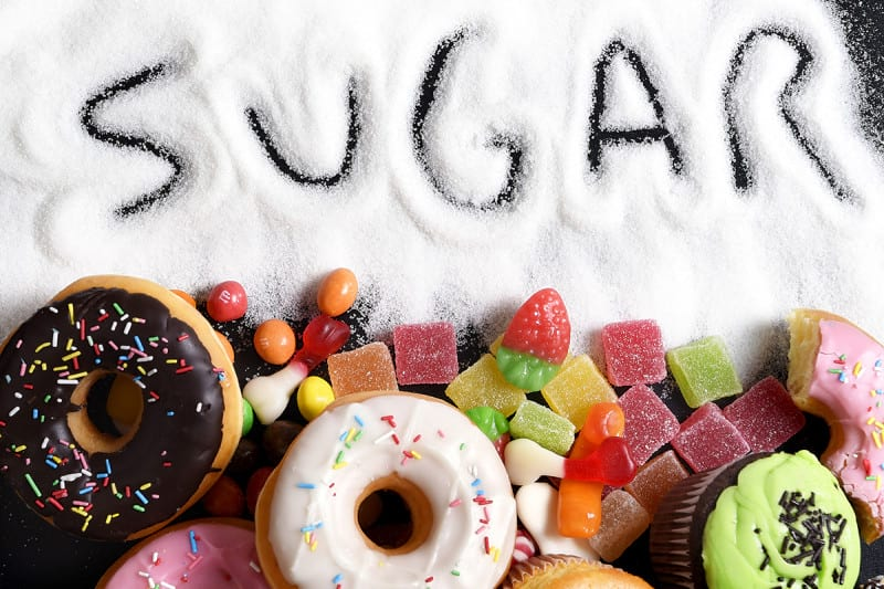 photo of sugary foods like candy, donuts, and cupcakes