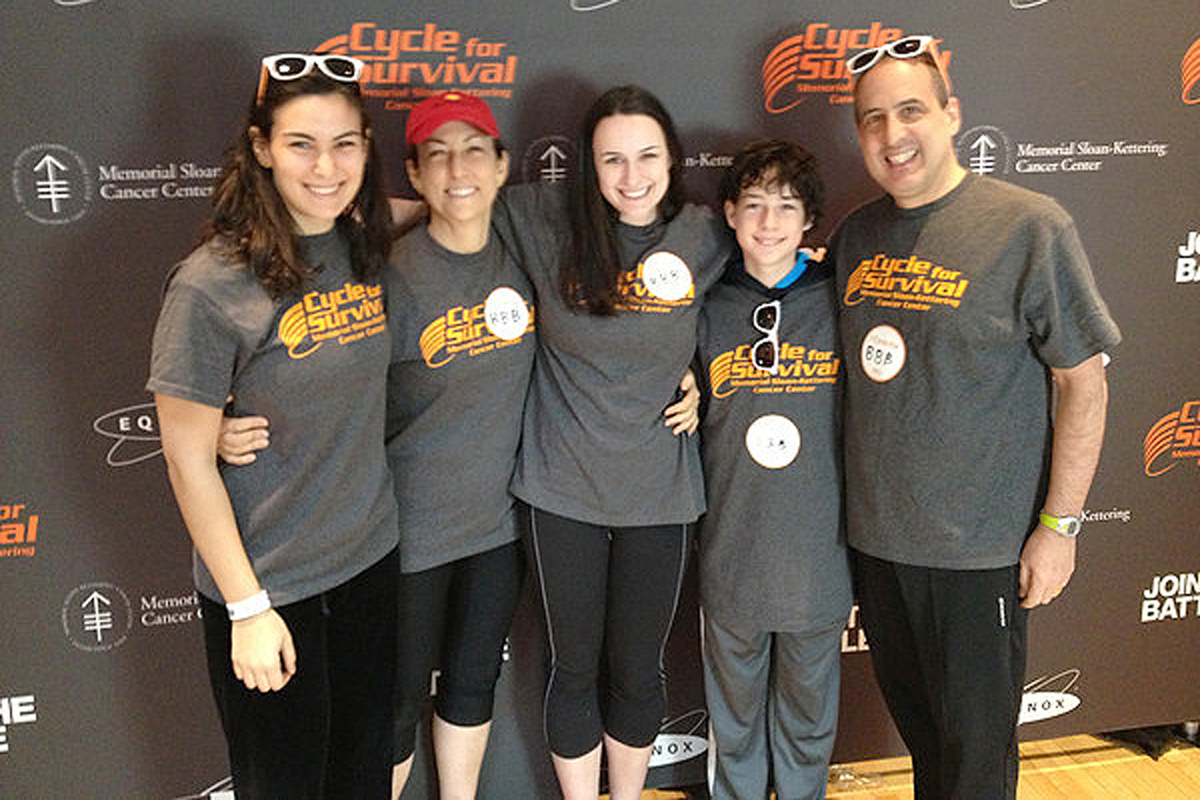 Rachel Bigio and her family participating in Memorial Sloan Kettering's Cycle for Survival