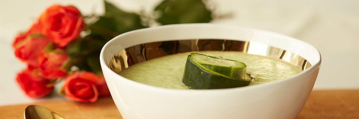 Chilled Cucumber Soup with Cilantro Mint, and Dill