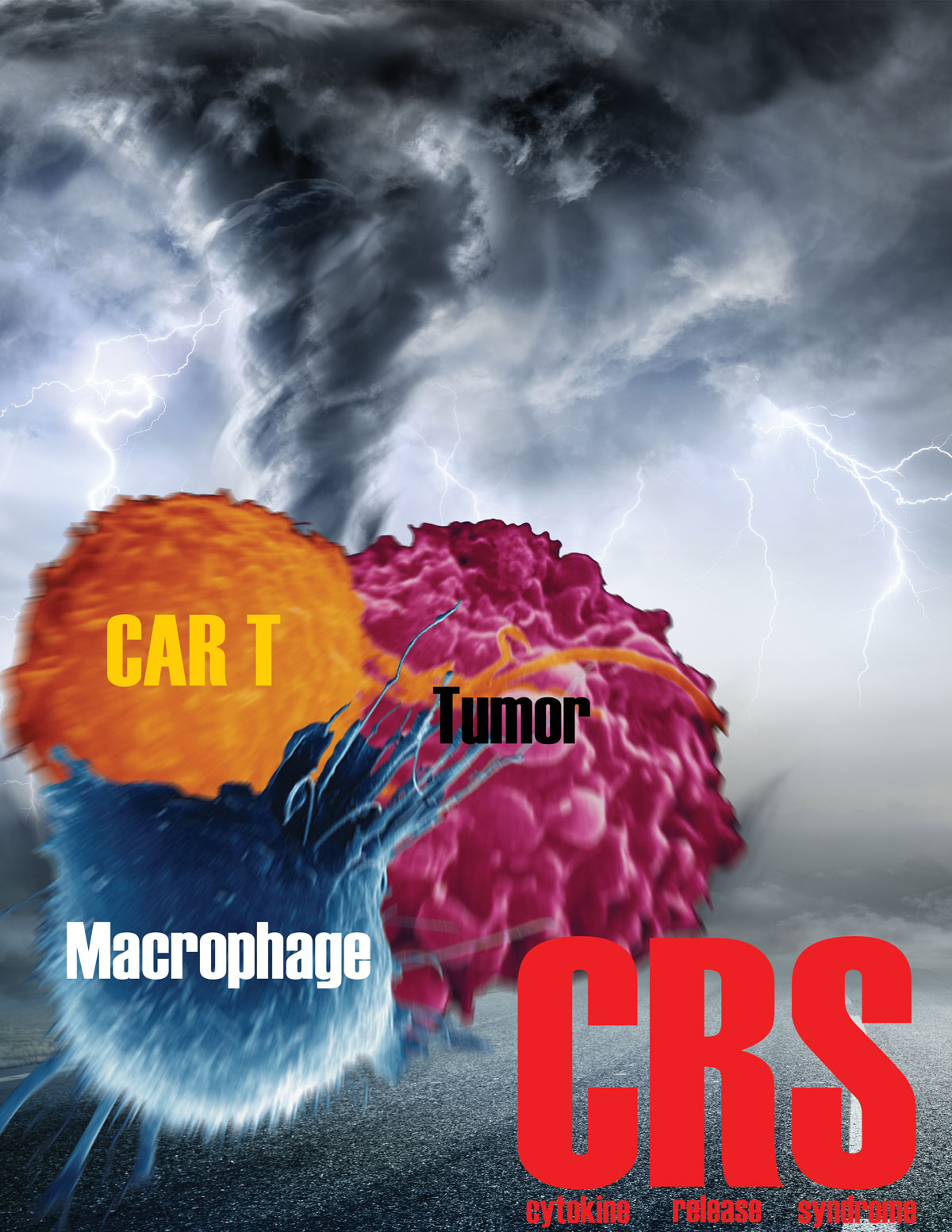 A drawing showing CAR T cells, macrophages, and tumor cells superimposed on a churning tornado-like storm.