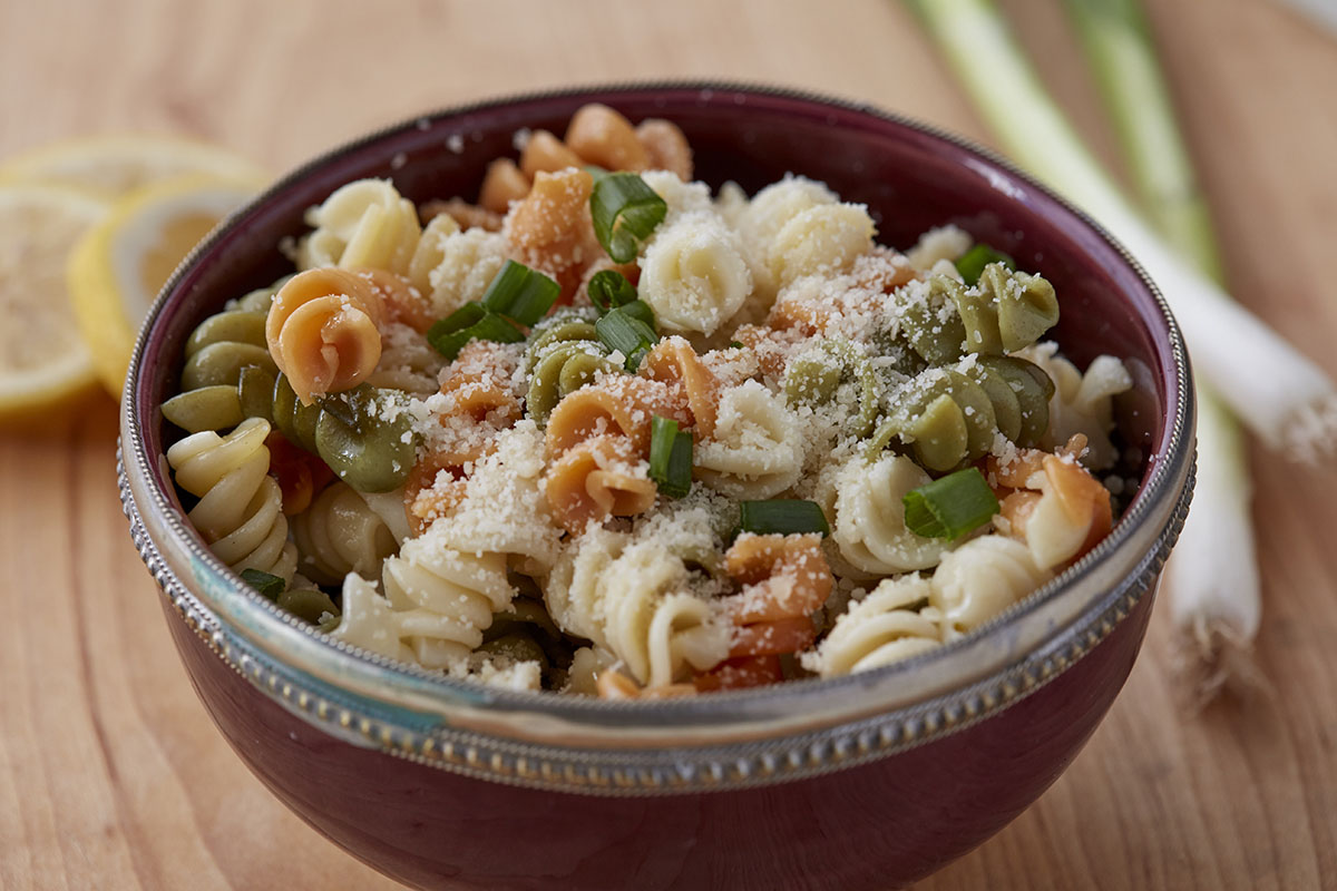Pasta salad with Parmesan and scallions