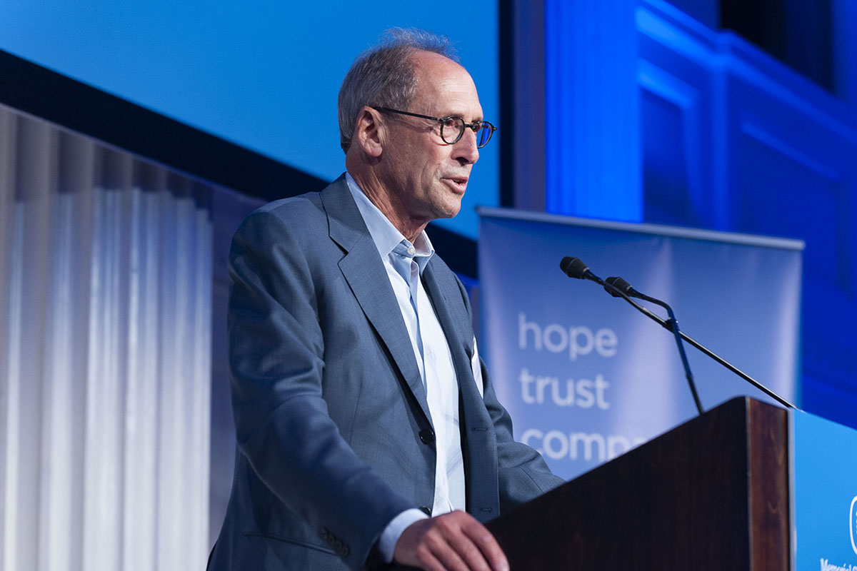 Peter Hamburger speaks onstage during the Thrivers Event hosted by Memorial Sloan Kettering, to honor the patients, caregivers, and staff of MSK's Bone Marrow Transplant Service.
