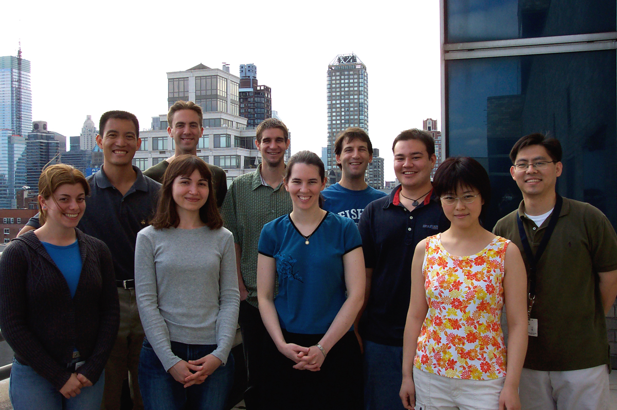 The Tan Group - July 15, 2004 -- (back row, from l): Derek Tan, Justin Potuzak, Justin Cisar, Dan Macks, Ethan Chiang, Jae-Sang Ryu; (front row): Lisa Ambrosini, Sirkka Moilanen, Chris DiBlasi, Shiying Shang.