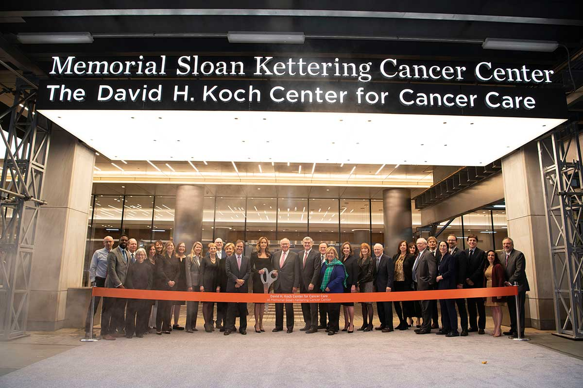 Members of MSK's Boards of Overseers and Managers, hospital leadership, Ambulatory Care, and Facilities Management Teams, and local elected officials join Julia F. Koch in celebrating the opening of the David H. Koch Center for Cancer Care at Memorial Sloan Kettering Cancer Center.