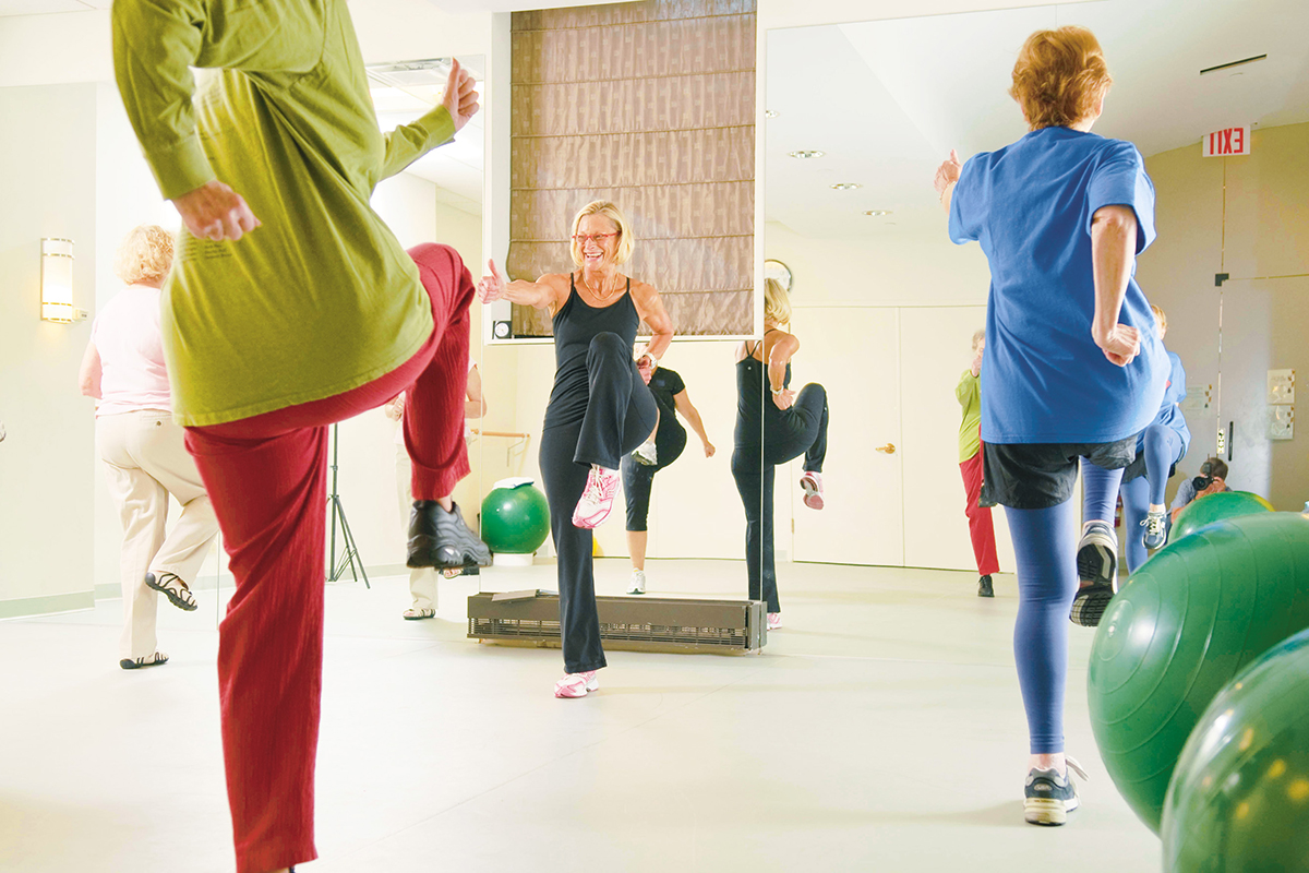 Donna Wilson leading a fitness class at Bendheim Integrative Medicine Center