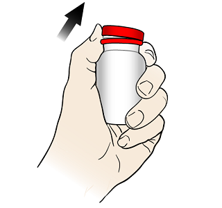 Figure 2. Opening the glass glucagon vial
