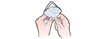 Figure 2. Peeling open the alcohol wipe wrapper