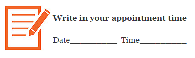 write in your appointment time