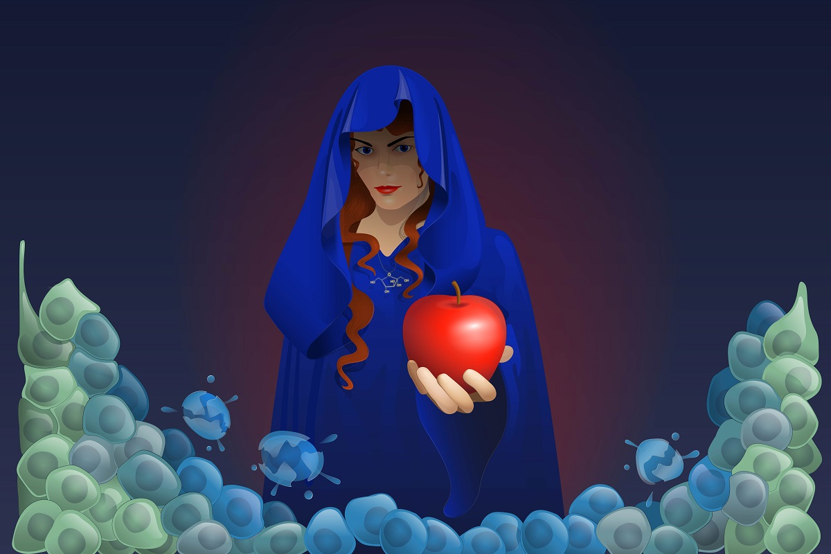 Color illustration of evil queen from Snow White offering apple to cancer cells.