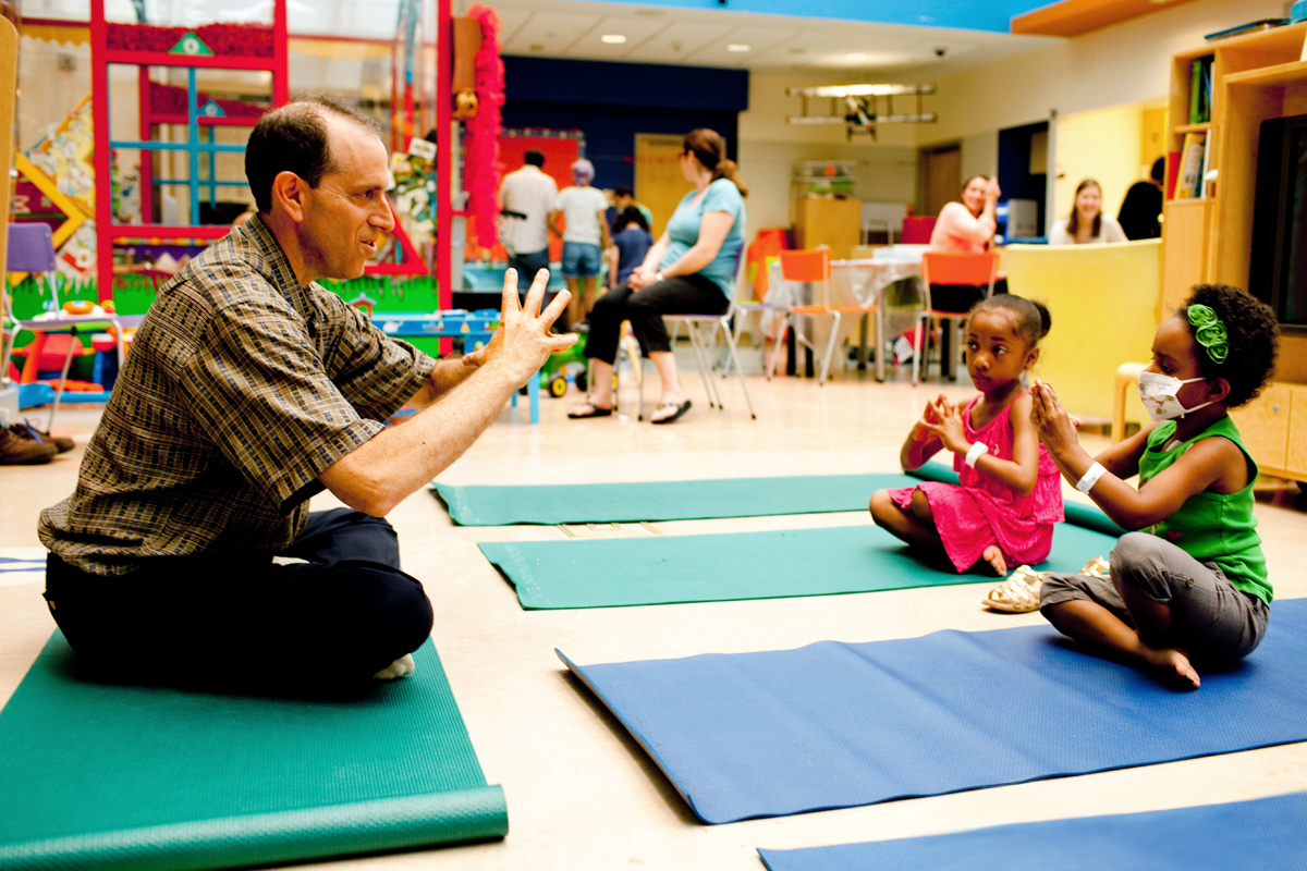 Patients can participate in yoga sessions in the Recreation Center.
