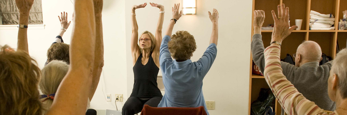Donna Wilson leads a yoga class as part of the Integrative Medicine Service