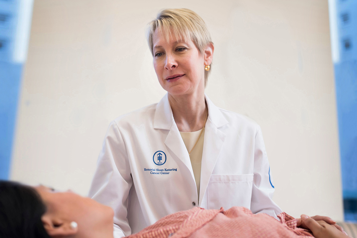 MSK medical oncologist Maura Dickler meets with a breast cancer patient