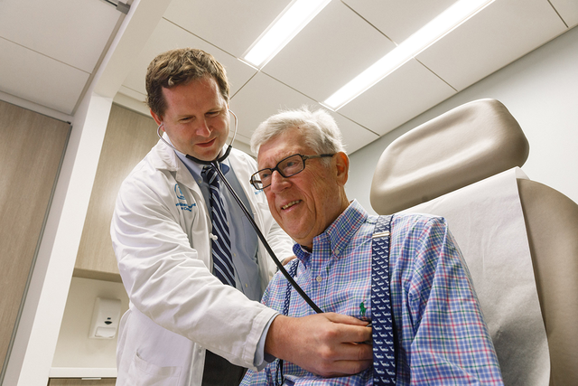 Memorial Sloan Kettering physician Daniel McFarland with a patient