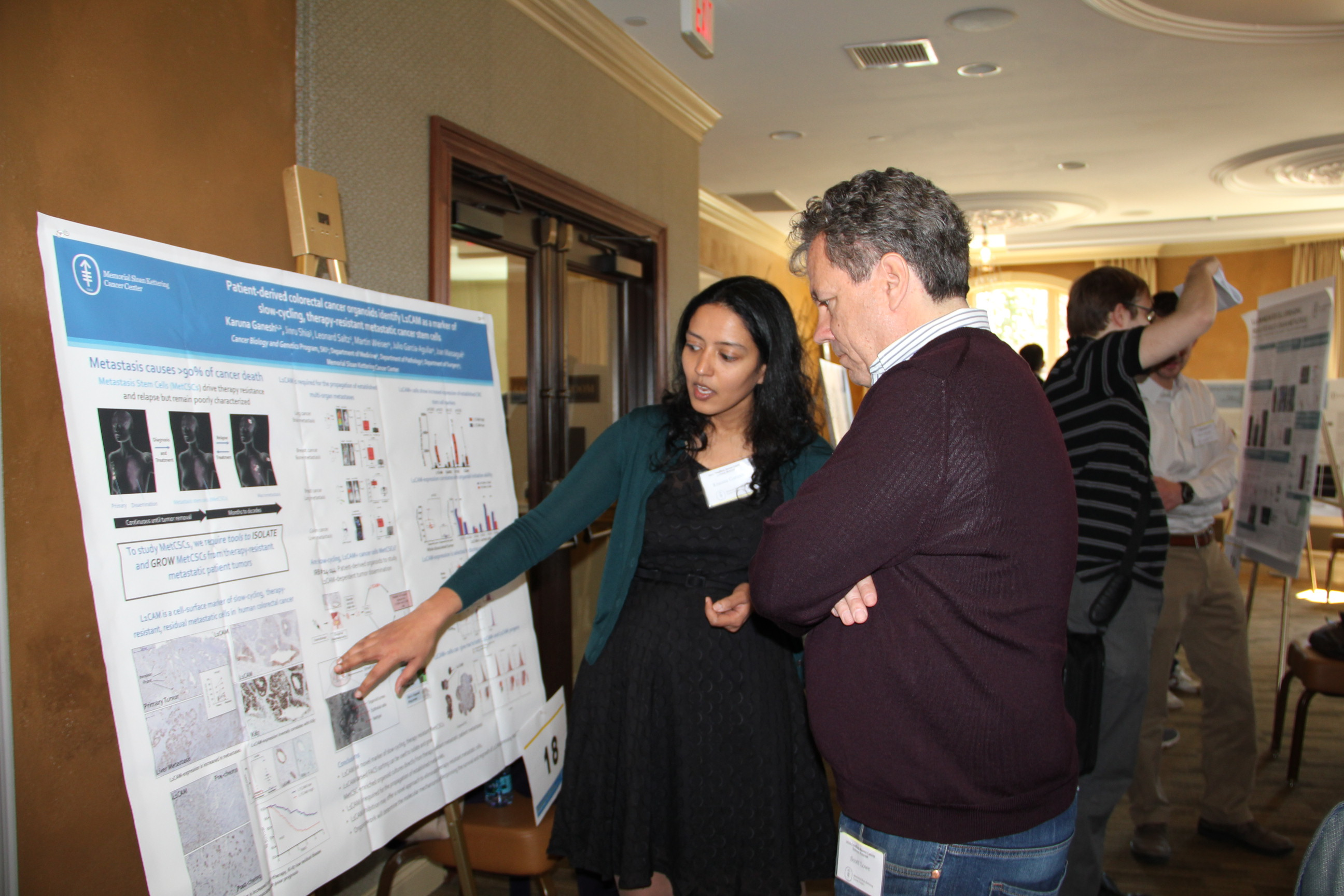 Cancer Biology & Genetics Program Chair Scott Lowe with physician-scientist Karuna Ganesh.