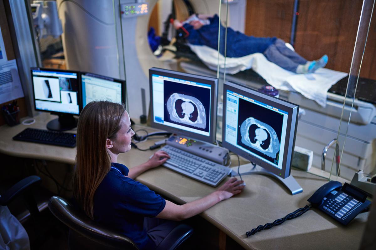 Patient undergoing scan
