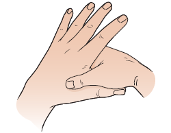 Figure 1. Finding the space between your left thumb and index finger. Massage for headaches and migraines