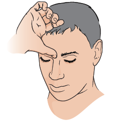 Figure 1. Placing thumb between eyebrows