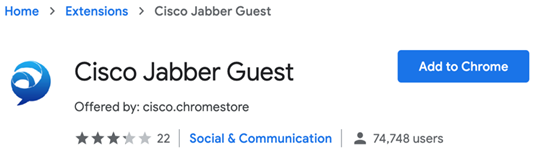 Figure 9. Add Cisco Jabber Guest to Chrome