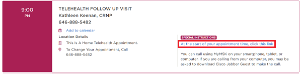 Figure 2. Click appointment link