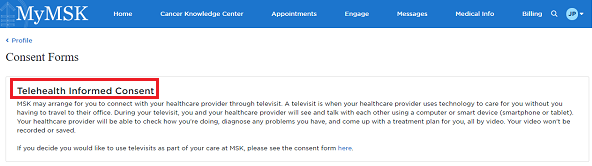 "Figure 4. Click ""Telehealth Informed Consent"""