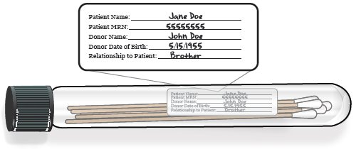 Figure 2. Swabs in tube with filled out label