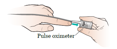 Figure 8. Put the pulse oximeter on your finger