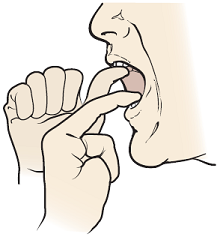 Figure 7. Opening your mouth with your index finger and thumb