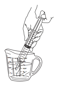 Figure 6. Drawing up the water into syringe