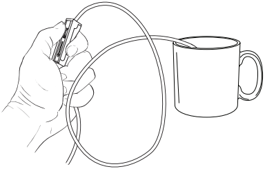 Figure 7. Opening roller clamp on feeding bag tube