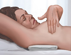 Figure 4. Breast self-exam while lying down