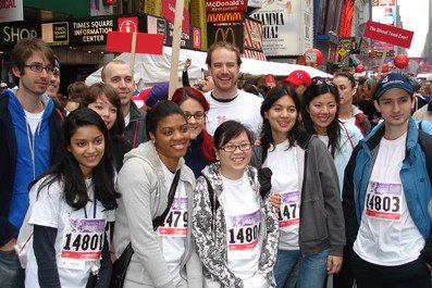 Students in Times Square at Revlon Walk/Run
