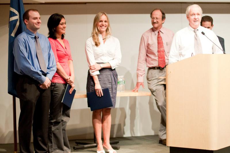 Pictured: John Halliday, Neha Bhagwat, Ellen Hukkelhoven, Harold Varmus, & Eric Holland