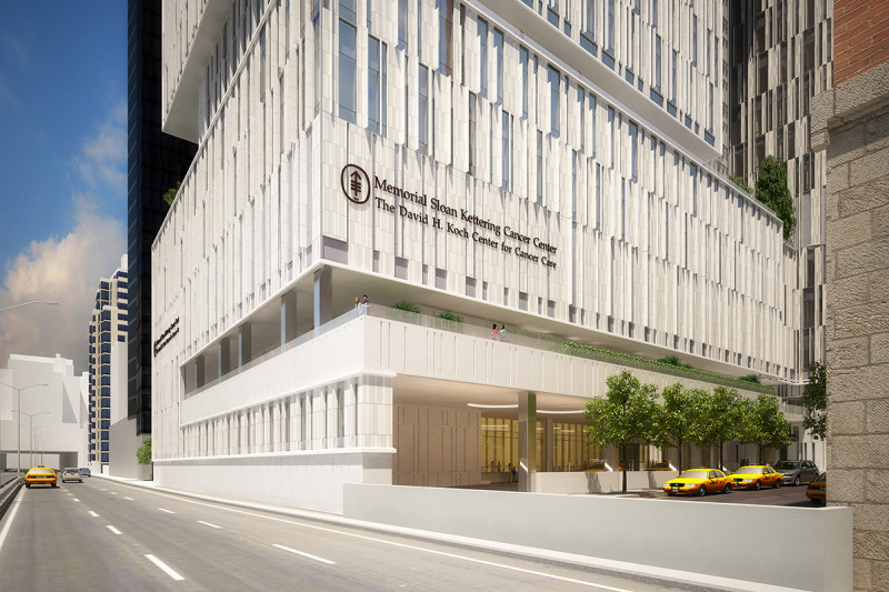 Architectural rendering of The David H. Koch Center for Cancer Care, scheduled to open in 2019.