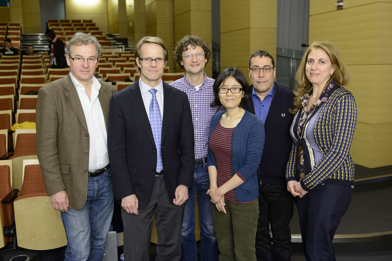 Center for Stem Cell Biology 2015 Symposium Speakers (from left to right) Andreas Nagy (Lunenfeld-Tanenbaum Research Institute), Lorenz Studer, Marius Wernig (Stanford School of Medicine), Danwei Huangfu, Ali Brivanlou (The Rockefeller University) and Viviane Tabar