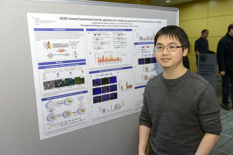 "Zengrong Zhu of the Sloan Kettering Institute's Developmental Biology Program and Center for Stem Cell Biology NYSTEM Trainings Grant presents ""Modeling the genetics of human pancreatic development and disease through genome editing in embryonic stem cells"""