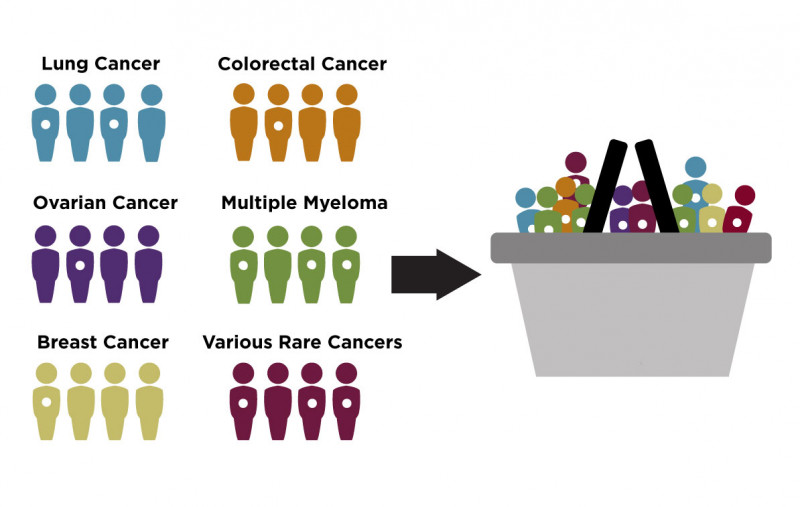 Graphic image. On the left side, six groups of human icons, each representing different type of cancer, some in each group with a white dot in middle of body. On the right side, image of basket filled with human icons containing white dots.