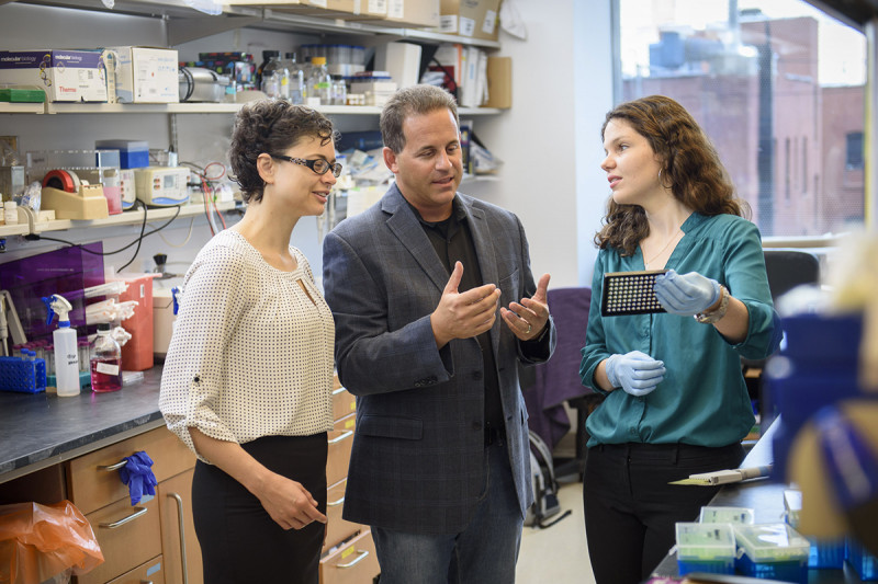 Pictured: Adriana Rodriguez, Dr. Ross Levine, and Dr. Olga Guryanova