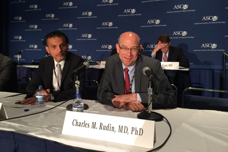 Two cancer researchers at the American Society of Clinical Oncology annual meeting