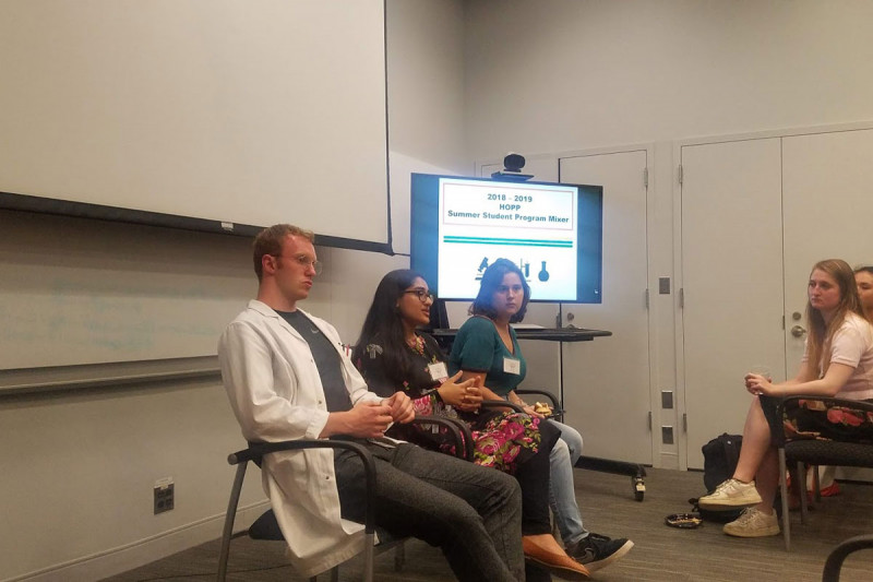2018 students Desmonde Lambe, Abiha Kazmi and Alexendra Bradu serve on alumni panel for HOPP Summer Student Program Mixer