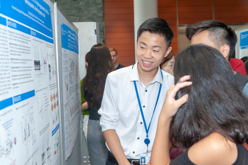 2019 student Zachary Chan presents his research at the poster session