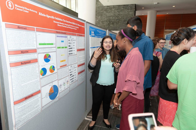 2019 student Fawziyah Shamim presents her research at the poster session
