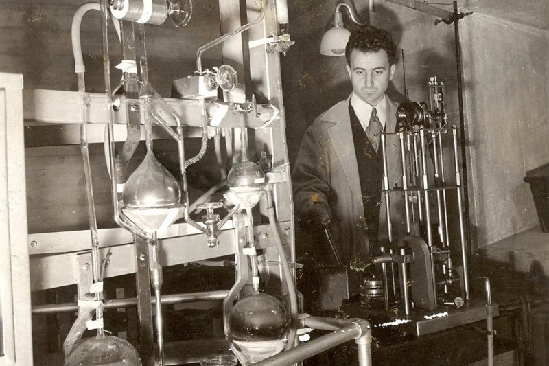 Man working at radon gas capture apparatus at Memorial Hospital.