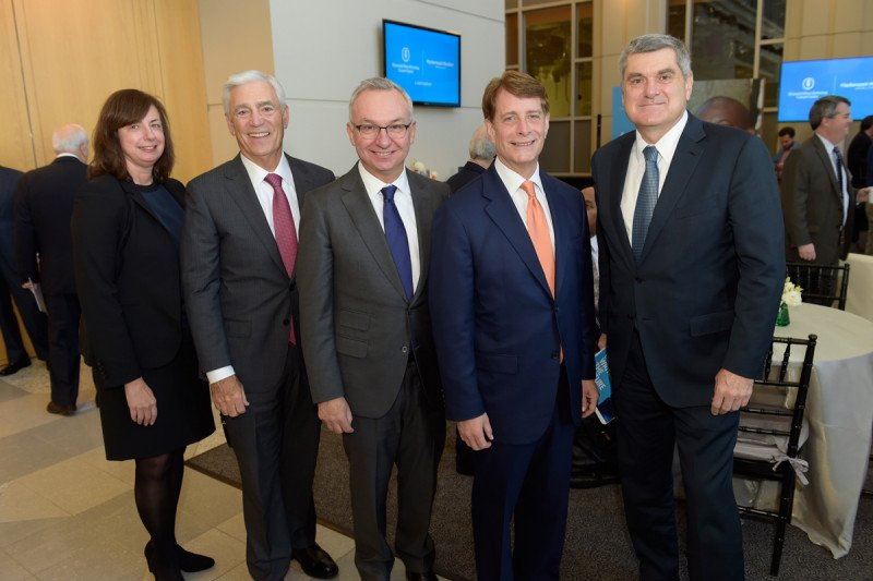 Executives at Memorial Sloan Kettering and Hackensack Meridian Health announce a partnership at a press conference