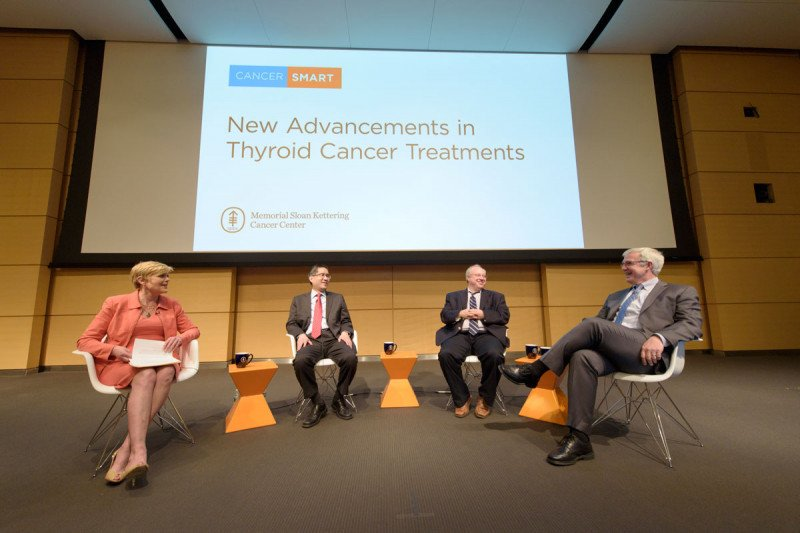 Anne Thompson, Moderator and Emmy Award Winning Journalist with panelists with Richard J. Wong, MD, FACS; Eric J. Sherman, MD and R. Michael Tuttle, MD at CancerSmart: New Advancements in Thyroid Cancer Treatments on May 1, 2017.
