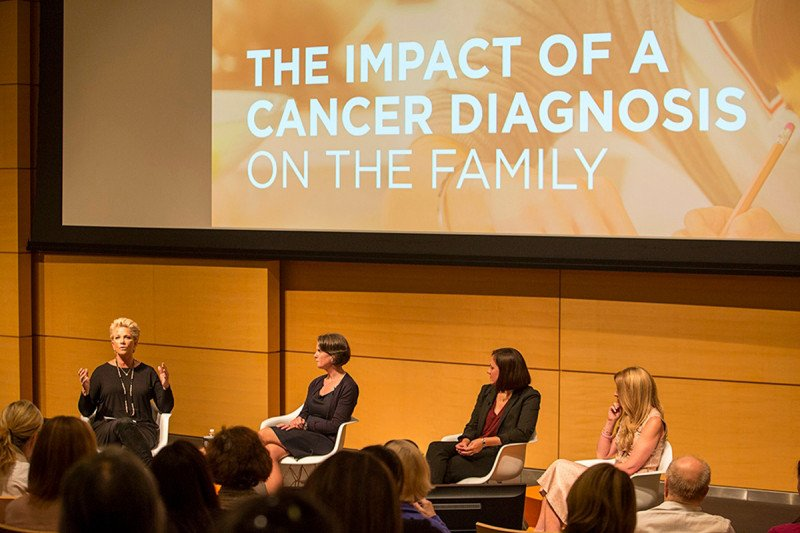 Joan Lunden, moderator and Award-winning Journalist and breast cancer survivor with panelists Barbara Golby, Clinical Social Worker, Julia A. Kearney, MD and Denise Albert, Founder of The Moms and MSK Patient at CancerSmart: When A Parent Becomes A Patient, September 27, 2016. Source: Matthew Septimus.