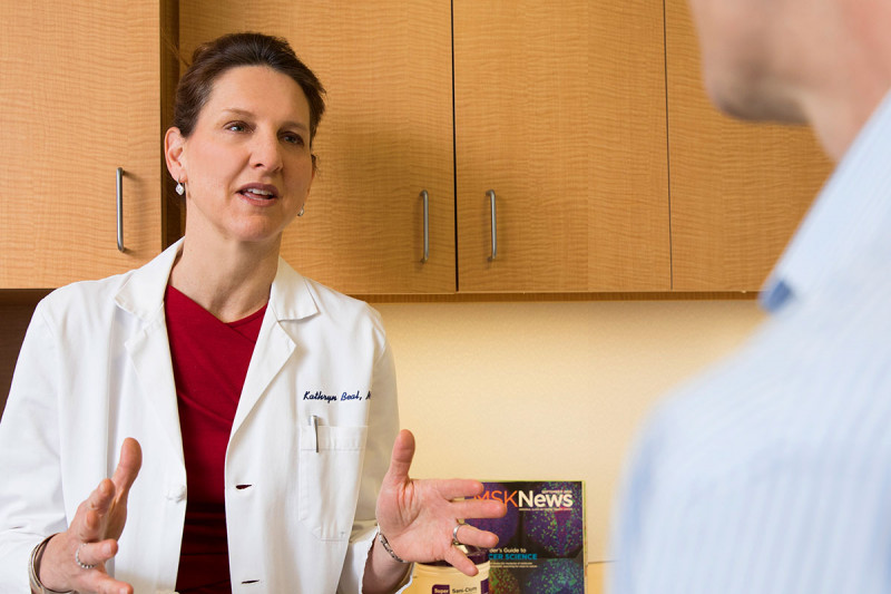 MSK radiation oncologist and glioblastoma multiforme (GBM) expert Kathryn Beal with a patient