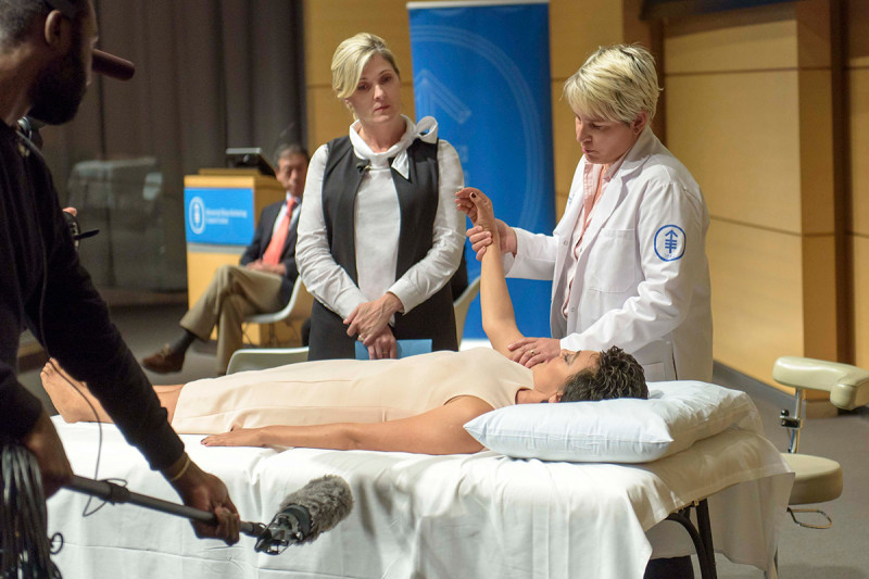 Watch massage therapist, Paige Mullins, demonstrate how massage helps cancer patients.