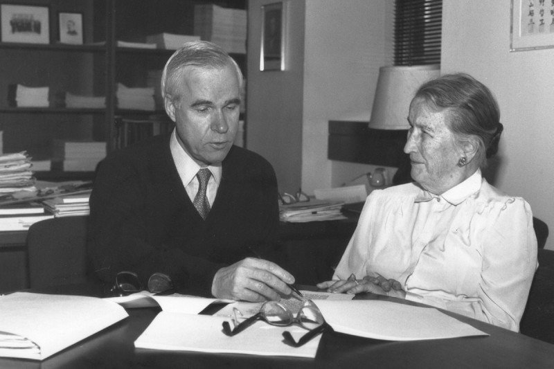 """Lloyd Old (left) with Helen Coley Nauts. Dr. Old is considered the """"Father of Modern Tumor Immunology."""""""